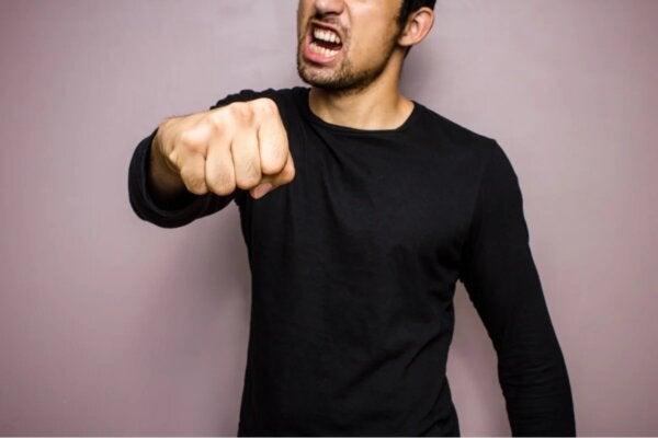 A man punching.