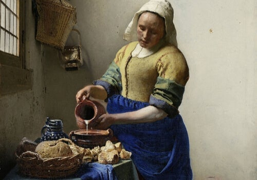 A painting of a woman pouring water into a bowl.