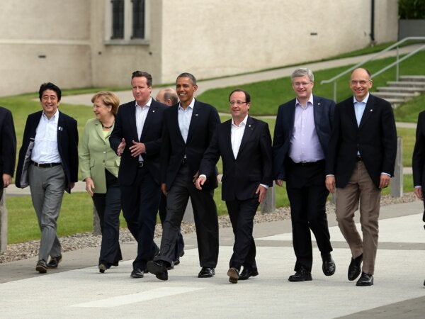 The leaders of the G8 use soft power to create diplomacy.