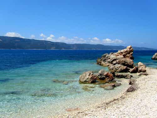 A beach in Ithaca, Greece.