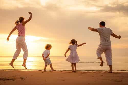 A family enjoying the beach.