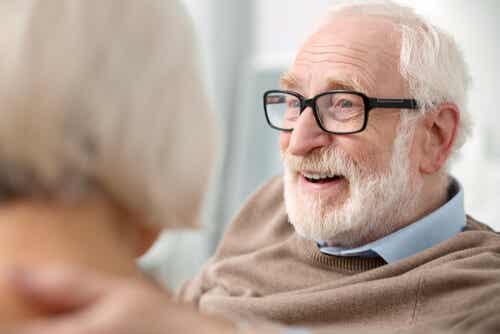 An image of senior citizen wearing eyeglasses.