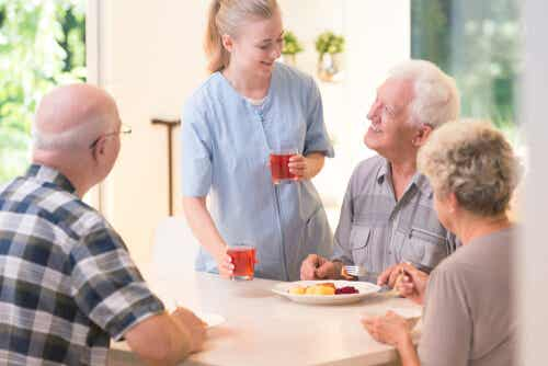 An image of senior citizens in a nursing home.