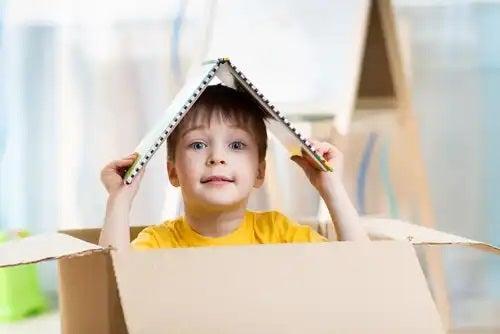 A child in a box.