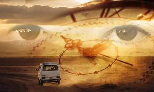 Eyes, a clock and a van signifying how to heal your past.