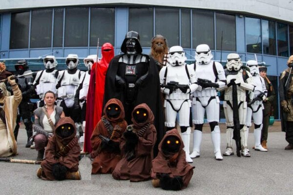 A group of people dressed as Star wars characters.