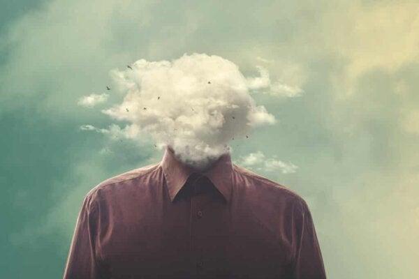 A head in the clouds.