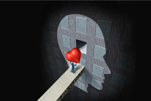A person carrying a heart.
