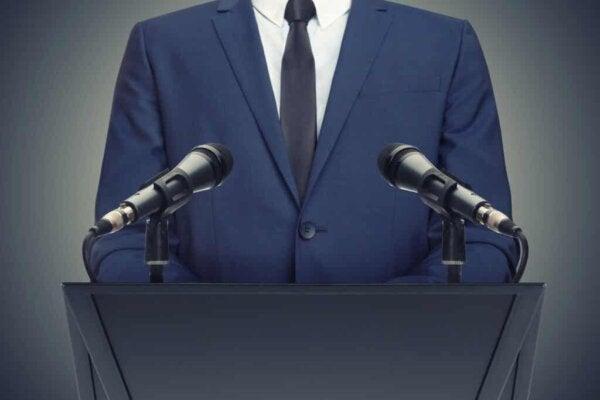 A politician during a speech.