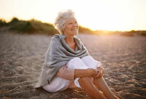 A woman enjoying the beach.
