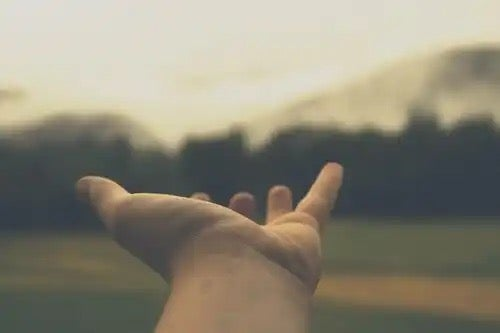 An outstretched hand.