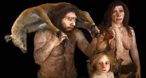 A Neanderthal family, showing they had a sense of compassion.