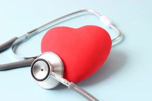 A stethoscope and a heart.