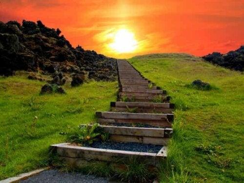 The steps to climb a mountain.