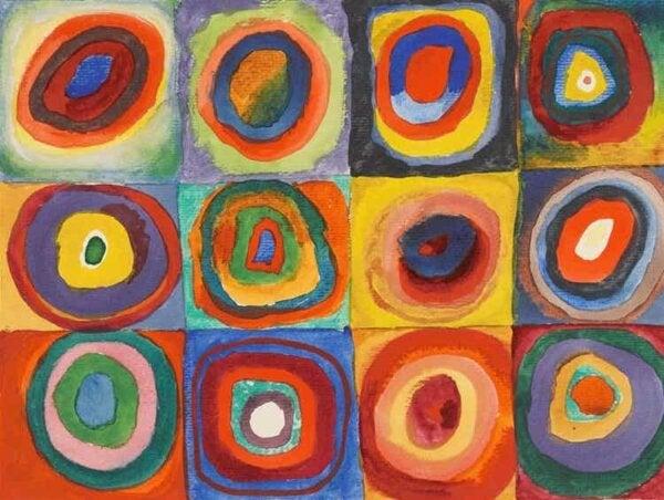 Neliöt samankeskisillä ympyröillä maalaus vuodelta 1913.