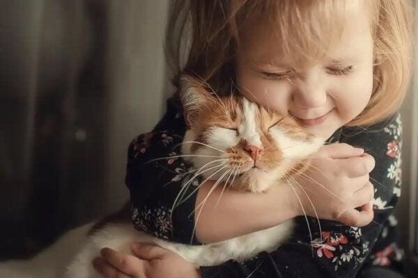 고양이를 껴안고 있는 어린 소녀.