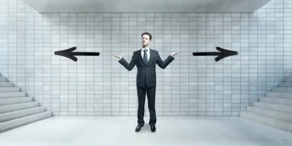 A man deciding which way to go.